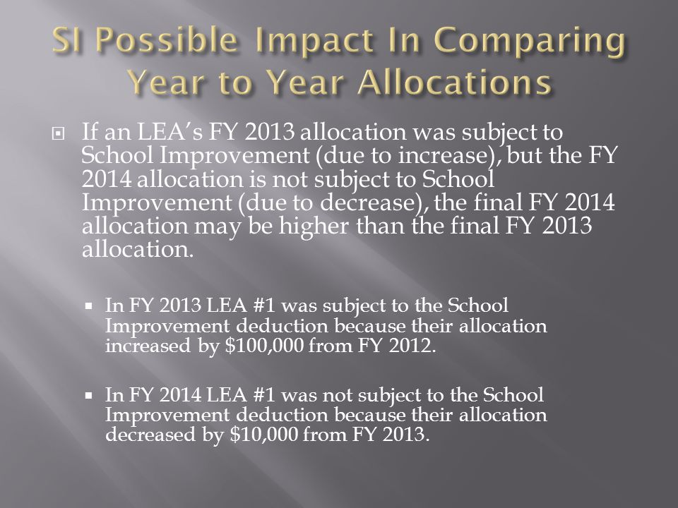  If an LEA's FY 2013 allocation was subject to School Improvement (due to increase), but the FY 2014 allocation is not subject to School Improvement (due to decrease), the final FY 2014 allocation may be higher than the final FY 2013 allocation.