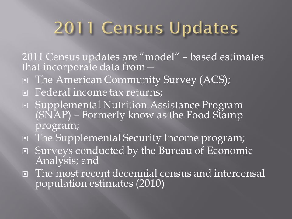 2011 Census updates are model – based estimates that incorporate data from—  The American Community Survey (ACS);  Federal income tax returns;  Supplemental Nutrition Assistance Program (SNAP) – Formerly know as the Food Stamp program;  The Supplemental Security Income program;  Surveys conducted by the Bureau of Economic Analysis; and  The most recent decennial census and intercensal population estimates (2010)