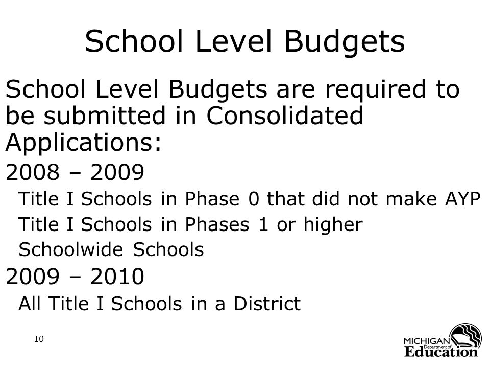 10 School Level Budgets School Level Budgets are required to be submitted in Consolidated Applications: 2008 – 2009 Title I Schools in Phase 0 that di