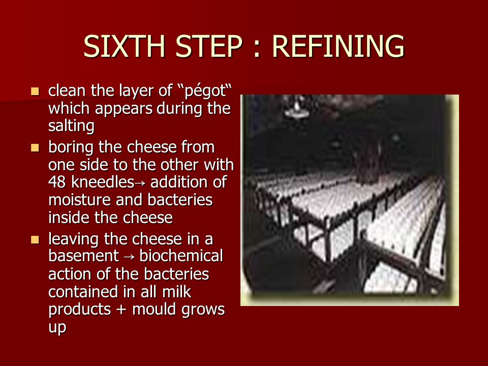 SIXTH STEP : REFINING clean the layer of pégot which appears during the salting clean the layer of pégot which appears during the salting boring the cheese from one side to the other with 48 kneedles → addition of moisture and bacteries inside the cheese boring the cheese from one side to the other with 48 kneedles → addition of moisture and bacteries inside the cheese leaving the cheese in a basement → biochemical action of the bacteries contained in all milk products + mould grows up leaving the cheese in a basement → biochemical action of the bacteries contained in all milk products + mould grows up