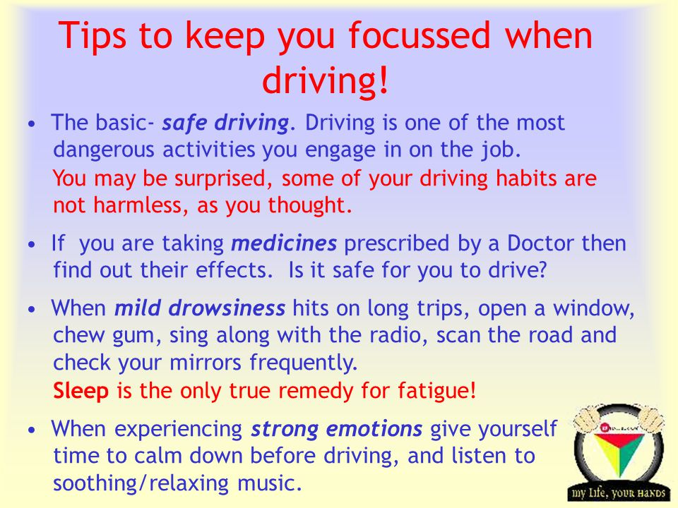 Transportation Tuesday Tips to keep you focussed when driving.