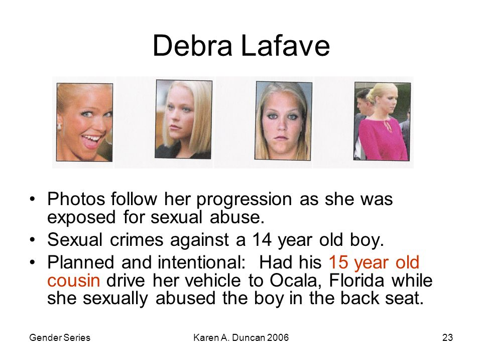 Gender SeriesKaren A. Duncan 200623 Debra Lafave Photos follow her progression as she was exposed for sexual abuse. Sexual crimes against a 14 year ol