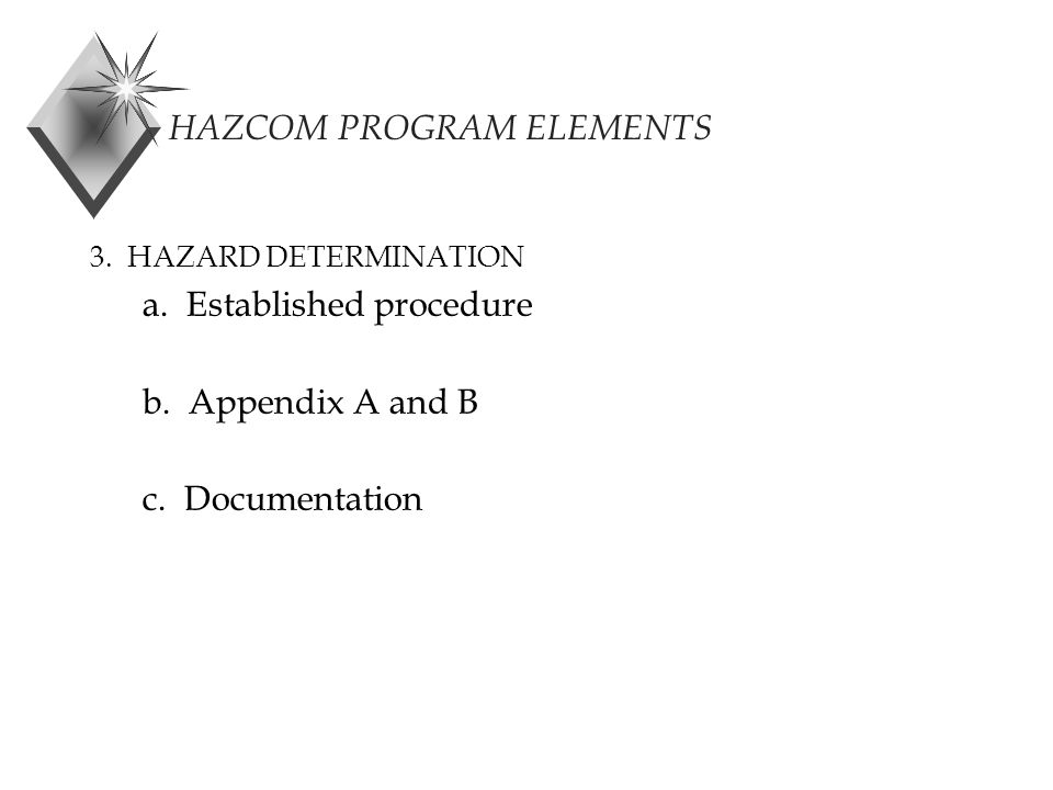 HAZCOM PROGRAM ELEMENTS 3. HAZARD DETERMINATION a.
