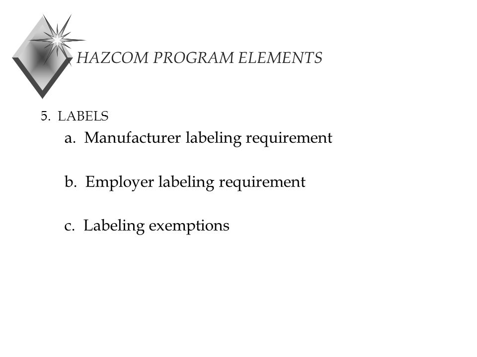 HAZCOM PROGRAM ELEMENTS 5. LABELS a. Manufacturer labeling requirement b.
