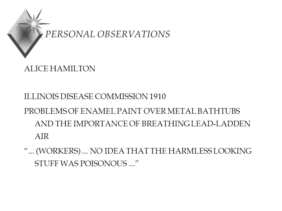 PERSONAL OBSERVATIONS ALICE HAMILTON ILLINOIS DISEASE COMMISSION 1910 PROBLEMS OF ENAMEL PAINT OVER METAL BATHTUBS AND THE IMPORTANCE OF BREATHING LEAD-LADDEN AIR ...