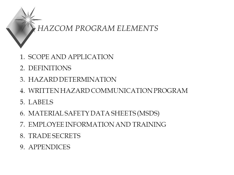 HAZCOM PROGRAM ELEMENTS 1. SCOPE AND APPLICATION 2.