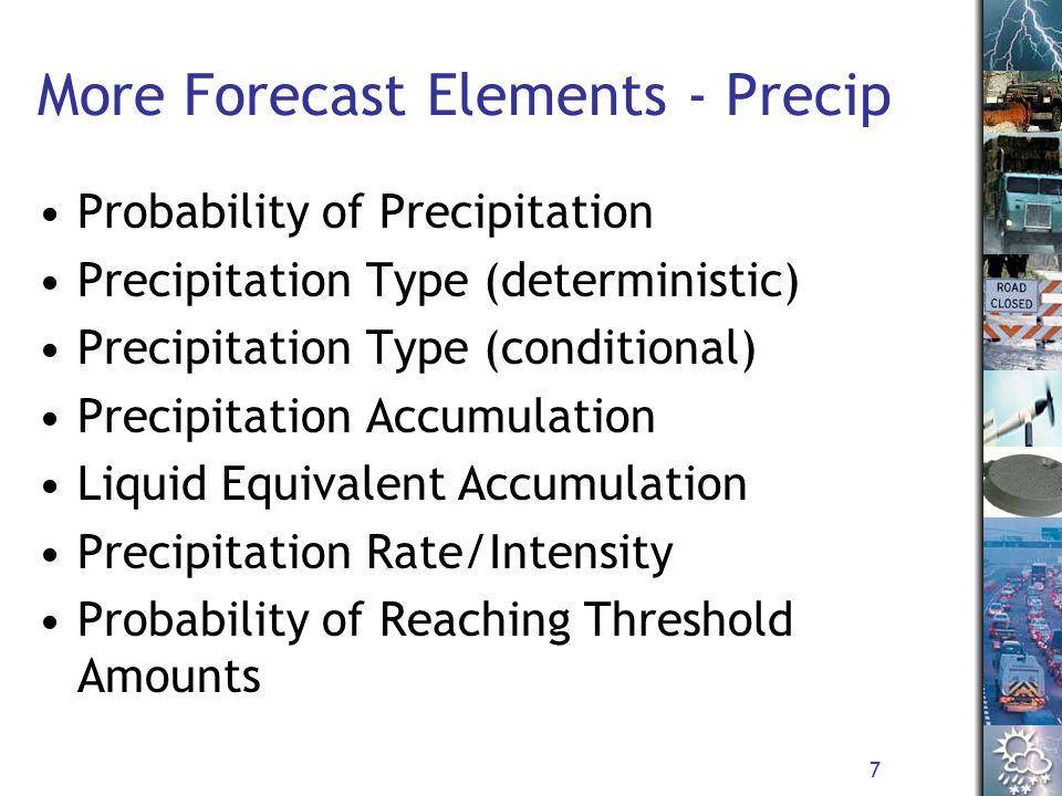 7 More Forecast Elements - Precip Probability of Precipitation Precipitation Type (deterministic) Precipitation Type (conditional) Precipitation Accumulation Liquid Equivalent Accumulation Precipitation Rate/Intensity Probability of Reaching Threshold Amounts