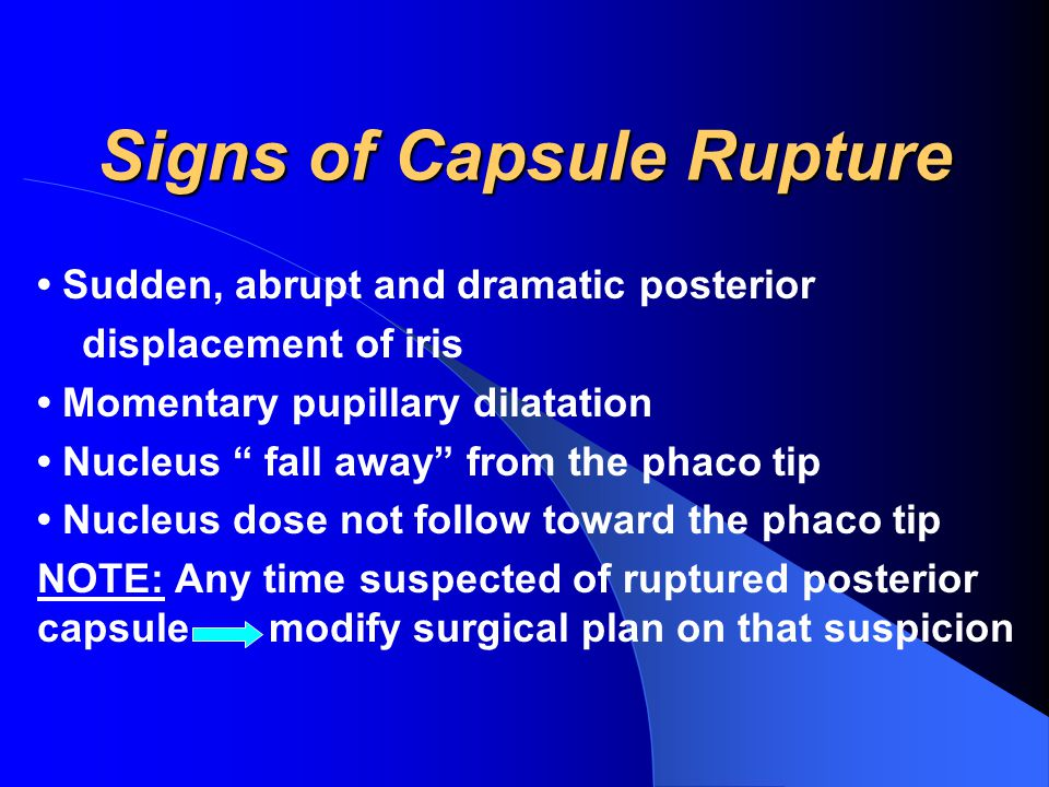 Signs of Capsule Rupture Sudden, abrupt and dramatic posterior displacement of iris Momentary pupillary dilatation Nucleus fall away from the phaco tip Nucleus dose not follow toward the phaco tip NOTE: Any time suspected of ruptured posterior capsule modify surgical plan on that suspicion