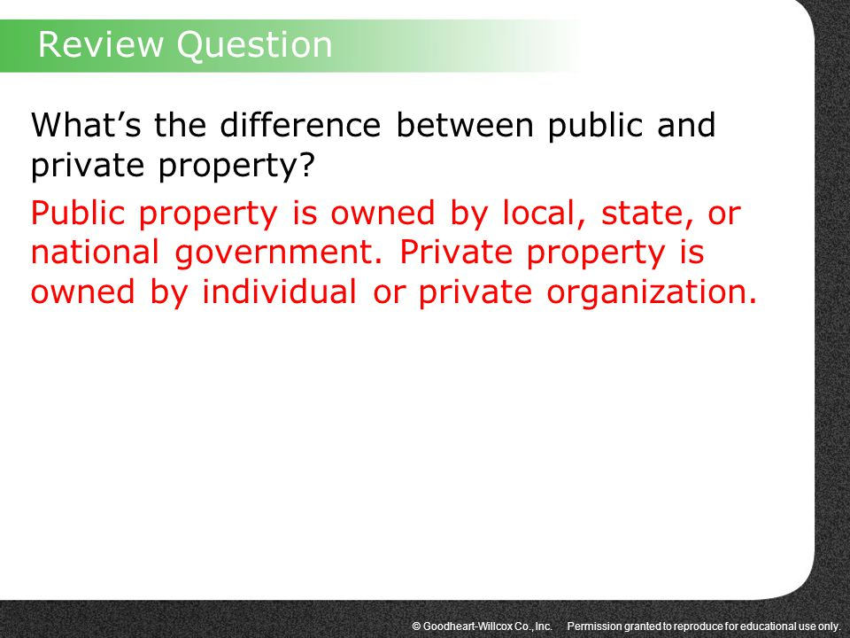© Goodheart-Willcox Co., Inc. Permission granted to reproduce for educational use only. What's the difference between public and private property? Pub