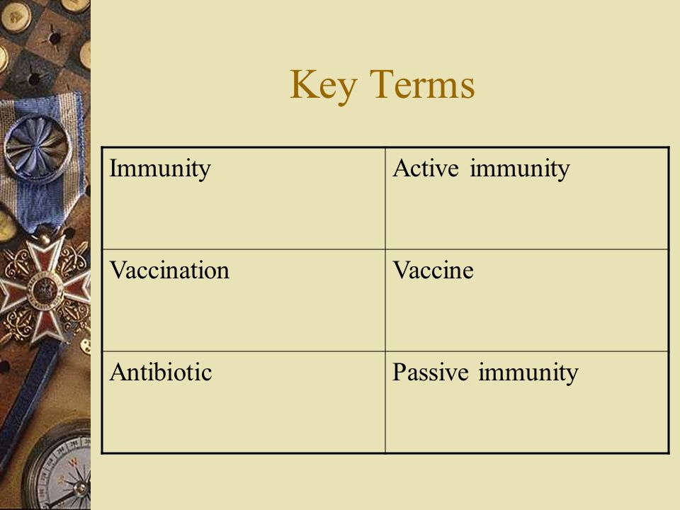 Active immunity  Active immunity occurs when a persons own immune system produces antibodies in response to the presence of a pathogen – Ex.