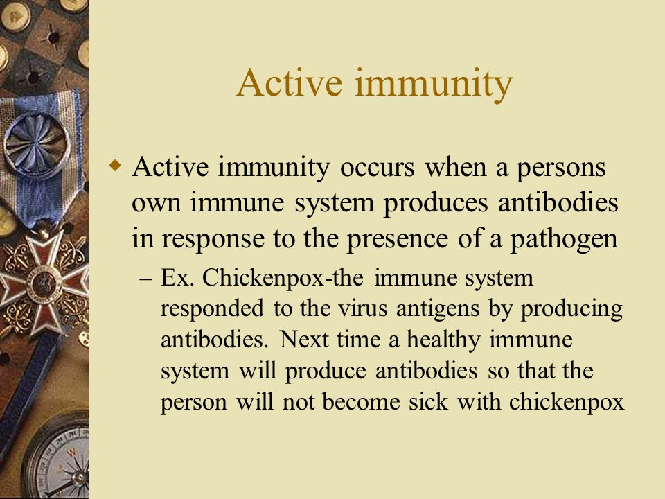 Active immunity  Active immunity occurs when a persons own immune system produces antibodies in response to the presence of a pathogen – Ex.