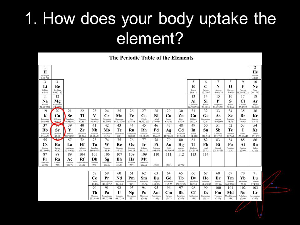 1. How does your body uptake the element