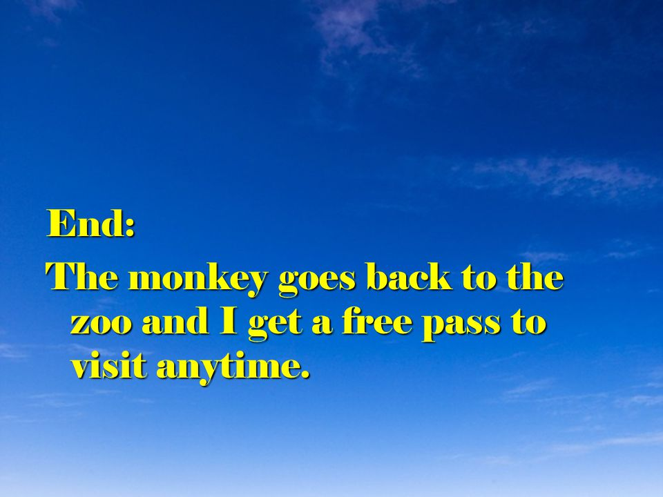 End: The monkey goes back to the zoo and I get a free pass to visit anytime.