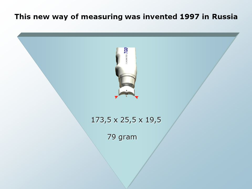 This new way of measuring was invented 1997 in Russia 173,5 x 25,5 x 19,5 79 gram
