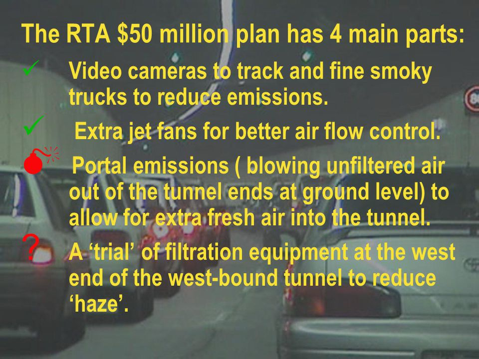 Tunnel pollution profiles for 'RTA plan showing: Unacceptable PM10 level at portal Mean trip exposure (not significantly reduced) Distance where PM10 exceeds 500µg/m 3 (unacceptably high)