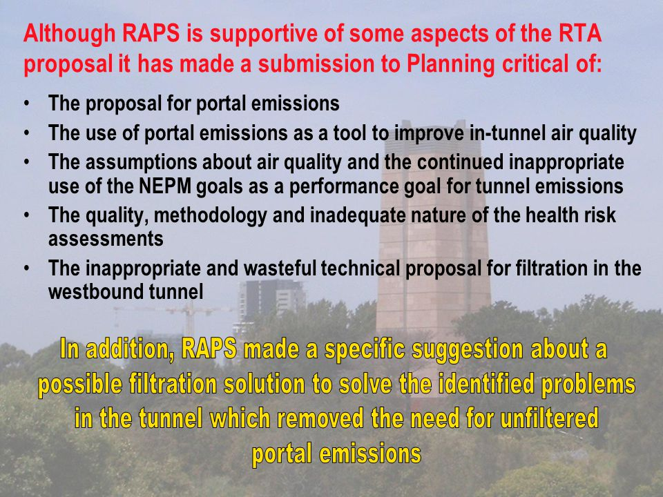 Environmental advantages of whole 'plan', including new fans, increased air flows and 'RAPS' filtration solutions.