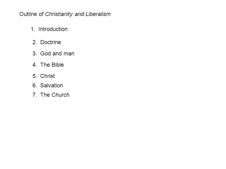 Outline of Christianity and Liberalism 1. Introduction 2.