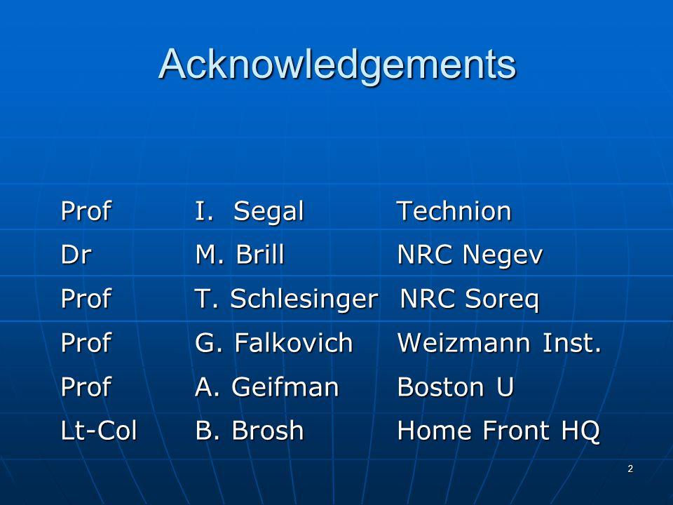 2 Acknowledgements ProfI. Segal Technion DrM. BrillNRC Negev ProfT.
