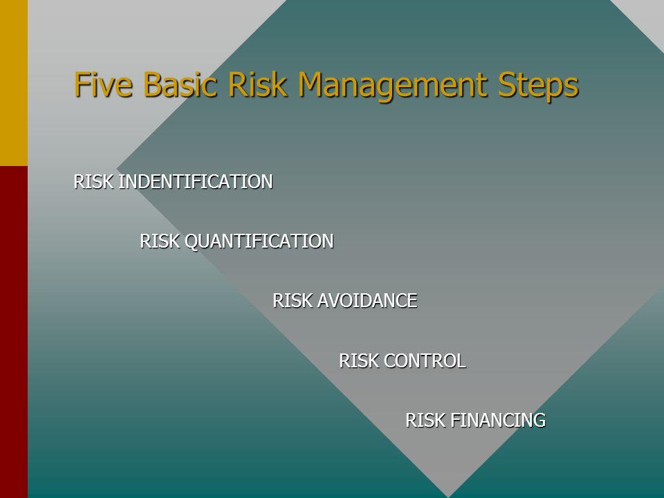 Five Basic Risk Management Steps RISK INDENTIFICATION RISK QUANTIFICATION RISK AVOIDANCE RISK AVOIDANCE RISK CONTROL RISK FINANCING