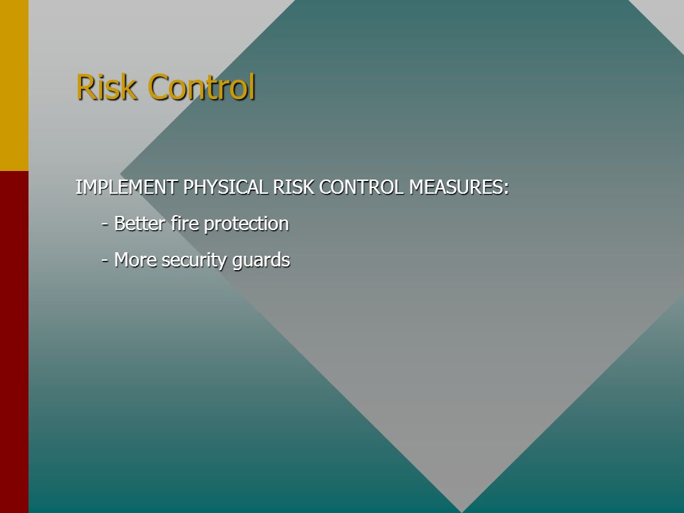 Risk Control IMPLEMENT PHYSICAL RISK CONTROL MEASURES: - Better fire protection - More security guards