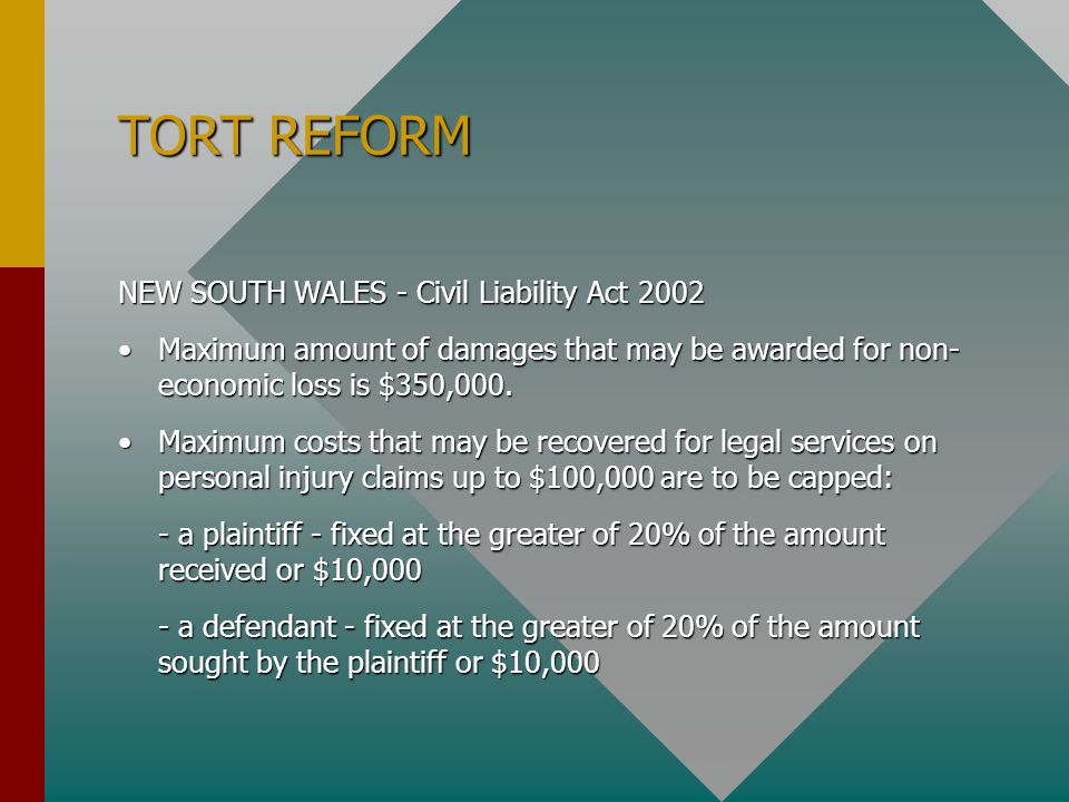 TORT REFORM NEW SOUTH WALES - Civil Liability Act 2002 Maximum amount of damages that may be awarded for non- economic loss is $350,000.Maximum amount