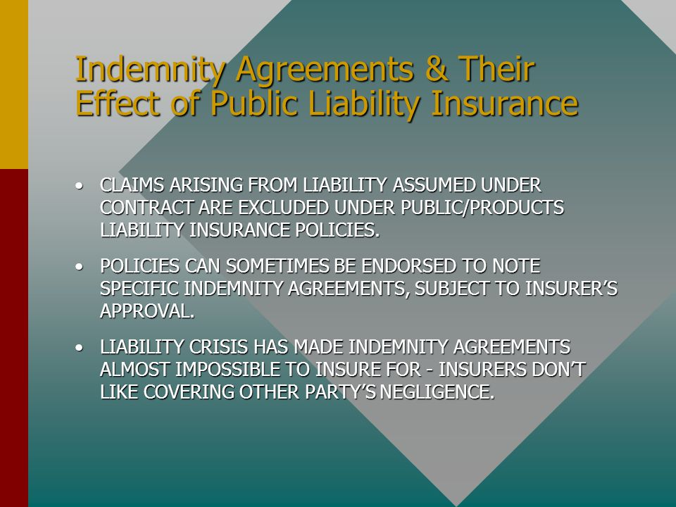 Indemnity Agreements & Their Effect of Public Liability Insurance CLAIMS ARISING FROM LIABILITY ASSUMED UNDER CONTRACT ARE EXCLUDED UNDER PUBLIC/PRODU