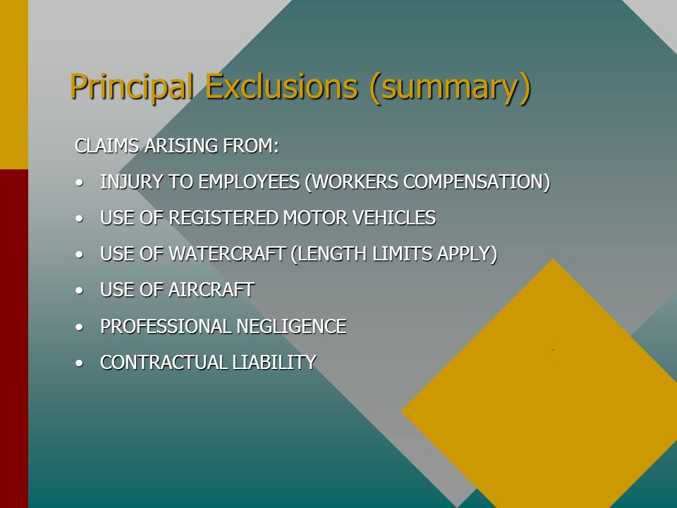 Principal Exclusions (summary) CLAIMS ARISING FROM: INJURY TO EMPLOYEES (WORKERS COMPENSATION)INJURY TO EMPLOYEES (WORKERS COMPENSATION) USE OF REGIST