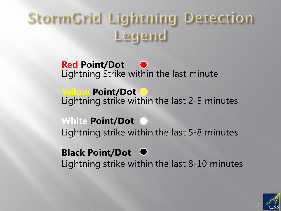 Red Point/Dot Lightning Strike within the last minute Yellow Point/Dot Lightning strike within the last 2-5 minutes White Point/Dot Lightning strike w