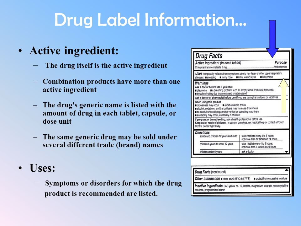 Drug Label Information… Active ingredient: – The drug itself is the active ingredient –Combination products have more than one active ingredient –The