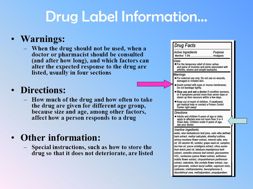 Drug Label Information… Warnings: –When the drug should not be used, when a doctor or pharmacist should be consulted (and after how long), and which f