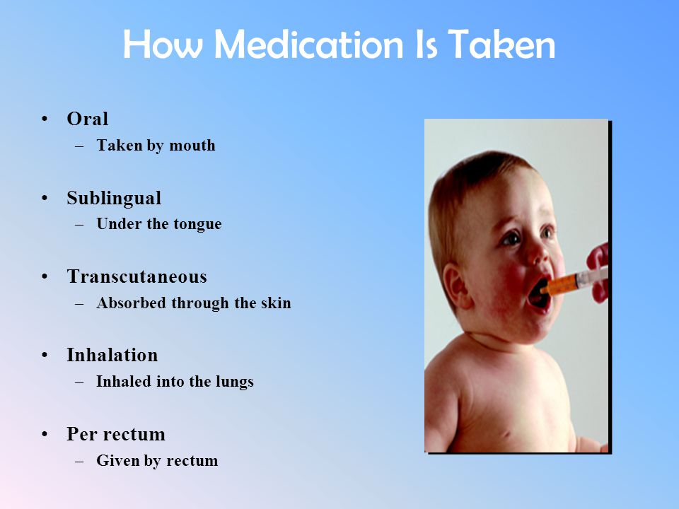 How Medication Is Taken Oral –Taken by mouth Sublingual –Under the tongue Transcutaneous –Absorbed through the skin Inhalation –Inhaled into the lungs