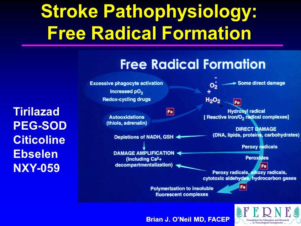Brian J. O'Neil MD, FACEP Stroke Pathophysiology: Free Radical Formation Tirilazad PEG-SOD Citicoline Ebselen NXY-059