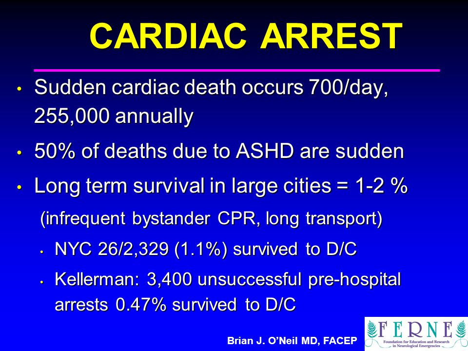 Brian J. O'Neil MD, FACEP CARDIAC ARREST Sudden cardiac death occurs 700/day, 255,000 annually Sudden cardiac death occurs 700/day, 255,000 annually 5
