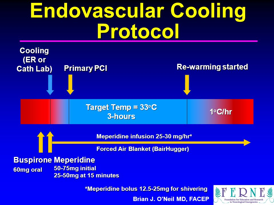 Brian J. O'Neil MD, FACEP Endovascular Cooling Protocol Cooling (ER or Cath Lab) Meperidine 50-75mg initial 25-50mg at 15 minutes Re-warming started P