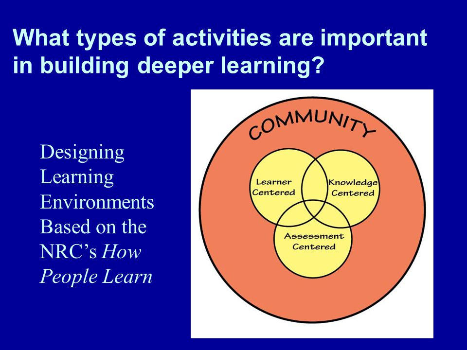 What types of activities are important in building deeper learning.