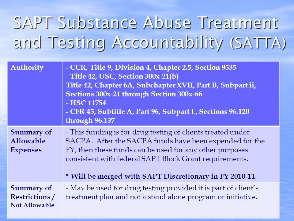 SAPT HIV Set Aside Authority- Title 42, Chapter 6A, Subchapter XVII, Part B, Subpart ii, Sections 300x-21 through Section 300x-66 - HSC 11754 - CFR 45, Subtitle A, Part 96, Subpart L, Sections 96.120 through 96.137 Summary of Allowable Expenses - Funding used to provide HIV early intervention services to individuals under going treatment for substance abuse.