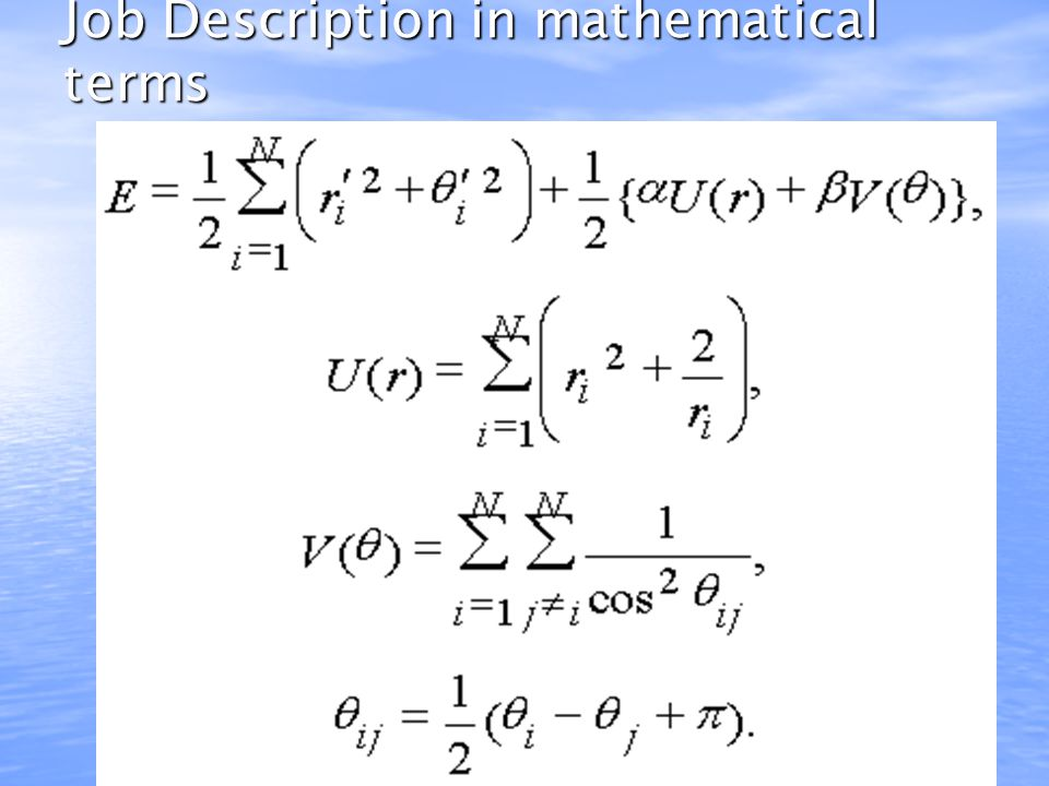 Job Description in mathematical terms