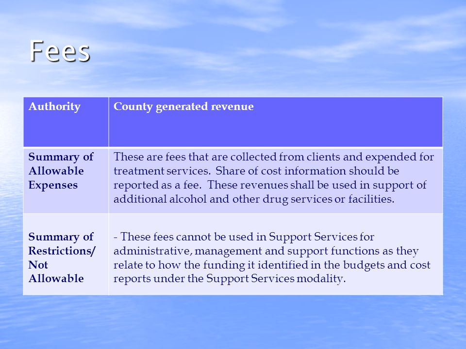 County Funds AuthorityHSC, Sections 11840 and 11840.1 Summary of Allowable Expenses These are funds provided by the county as administered by the County Alcohol and Drug Program Administrator.