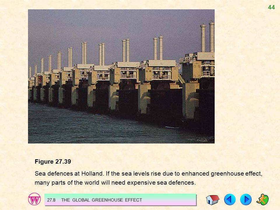 44 Figure 27.39 Sea defences at Holland. If the sea levels rise due to enhanced greenhouse effect, many parts of the world will need expensive sea def