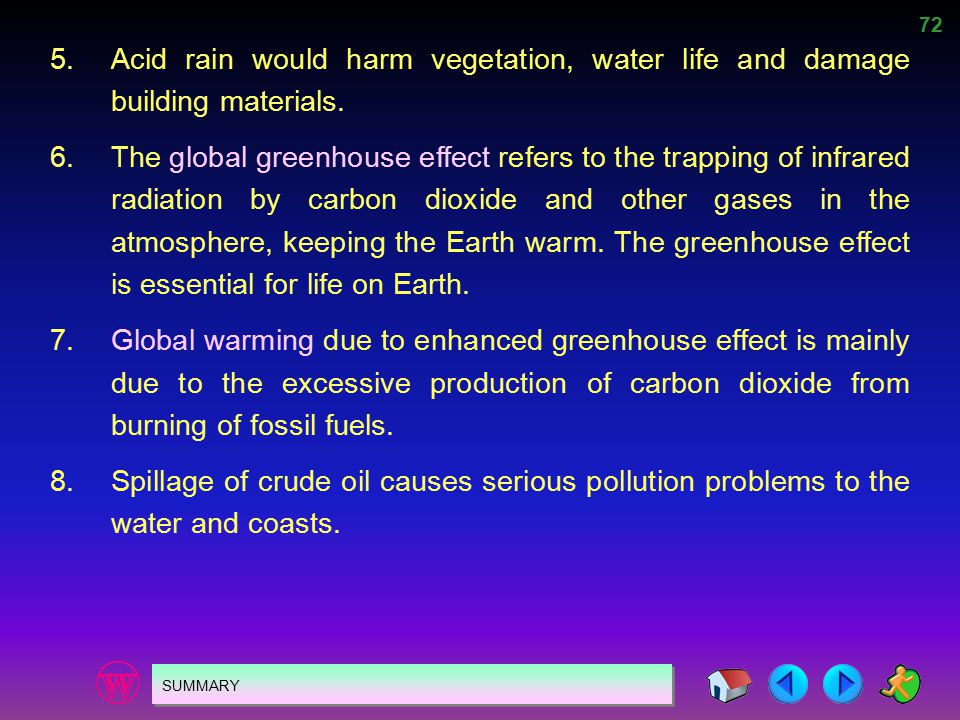 72 SUMMARY 5.Acid rain would harm vegetation, water life and damage building materials. 6.The global greenhouse effect refers to the trapping of infra