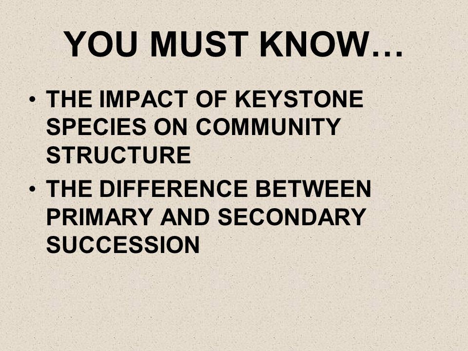 YOU MUST KNOW… THE IMPACT OF KEYSTONE SPECIES ON COMMUNITY STRUCTURE THE DIFFERENCE BETWEEN PRIMARY AND SECONDARY SUCCESSION