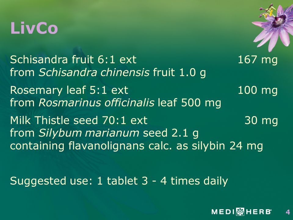 LivCo Schisandra fruit 6:1 ext 167 mg from Schisandra chinensis fruit 1.0 g Rosemary leaf 5:1 ext 100 mg from Rosmarinus officinalis leaf 500 mg Milk Thistle seed 70:1 ext30 mg from Silybum marianum seed 2.1 g containing flavanolignans calc.