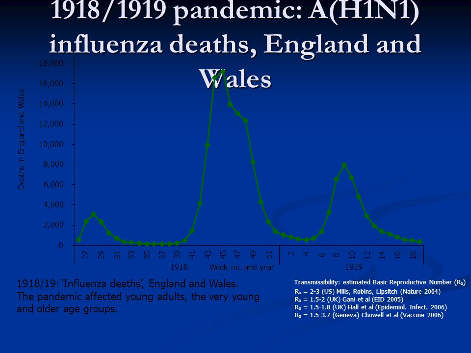 1918/1919 pandemic: A(H1N1) influenza deaths, England and Wales 1918/19: 'Influenza deaths', England and Wales.