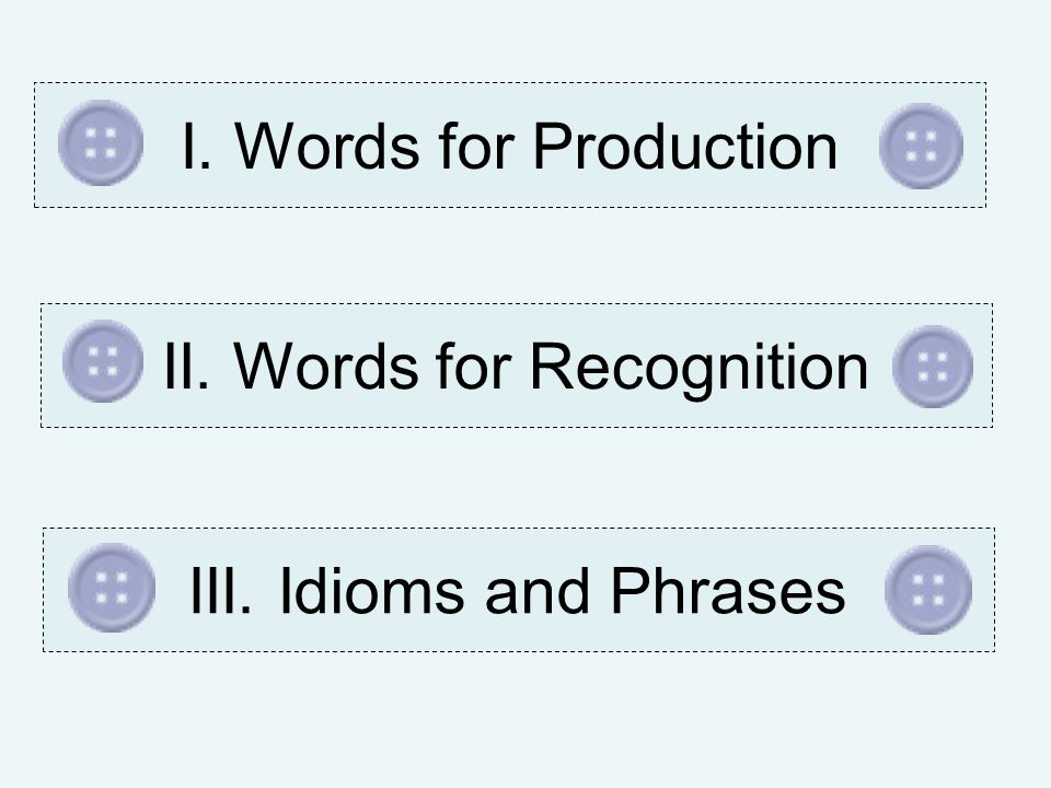 I. Words for ProductionII. Words for RecognitionIII. Idioms and Phrases