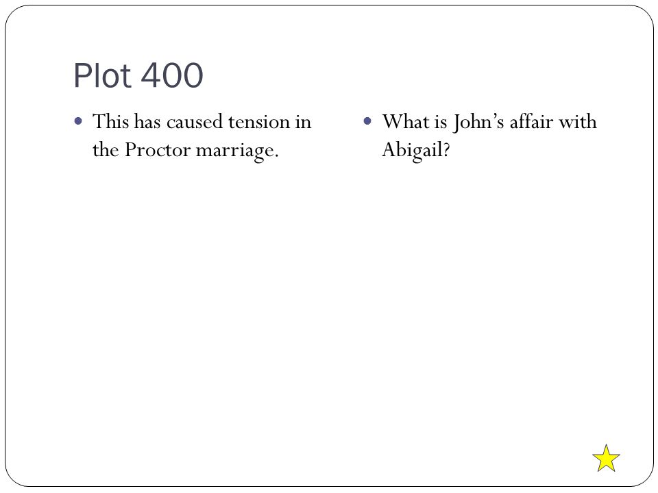 Plot 400 This has caused tension in the Proctor marriage. What is John's affair with Abigail