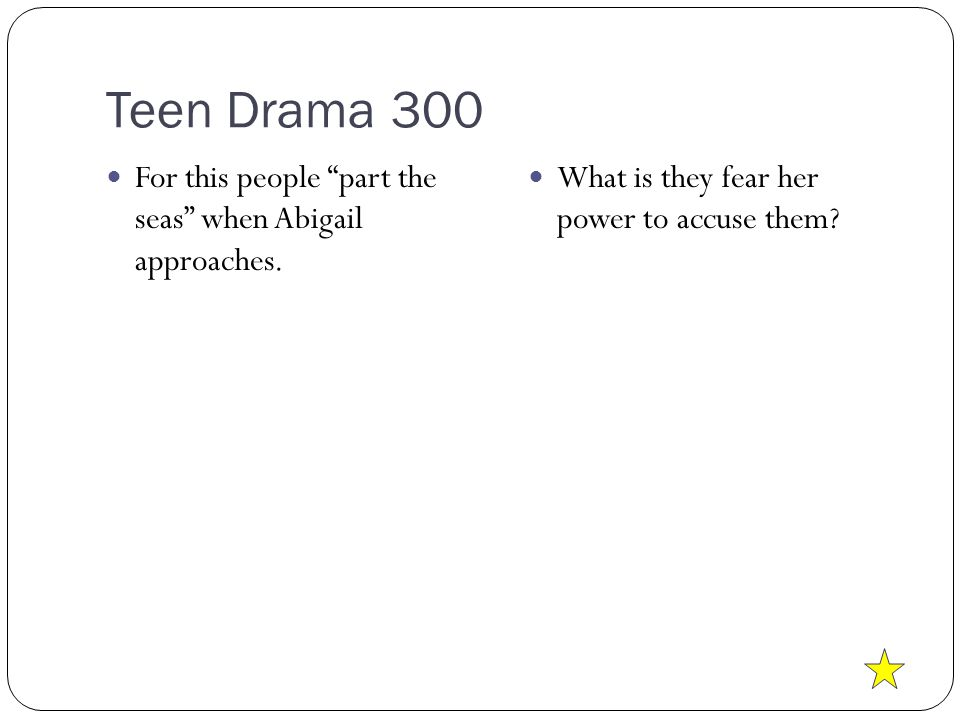 Teen Drama 300 For this people part the seas when Abigail approaches.