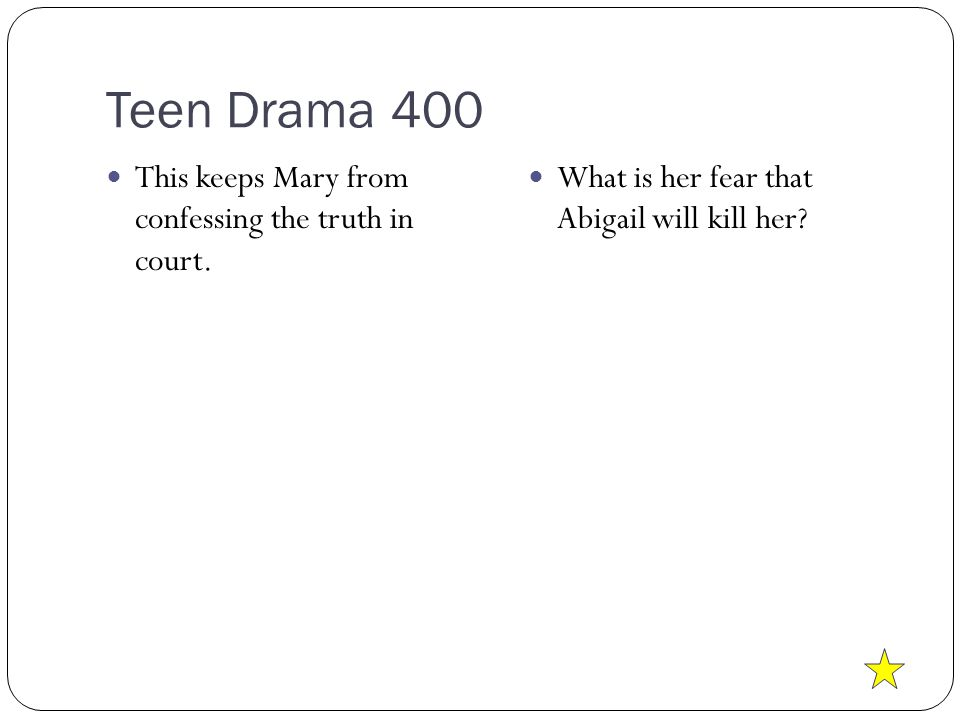 Teen Drama 400 This keeps Mary from confessing the truth in court.