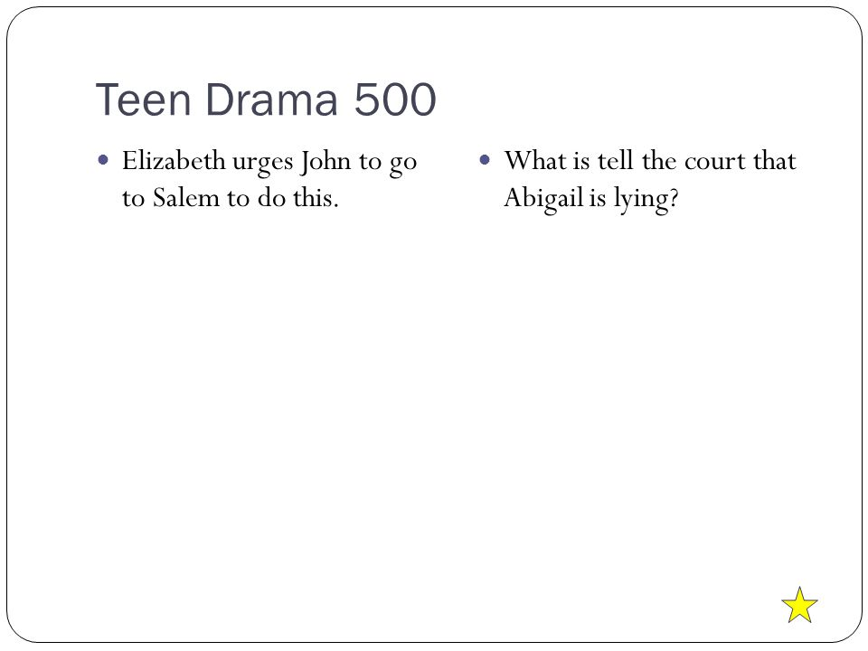 Teen Drama 500 Elizabeth urges John to go to Salem to do this.