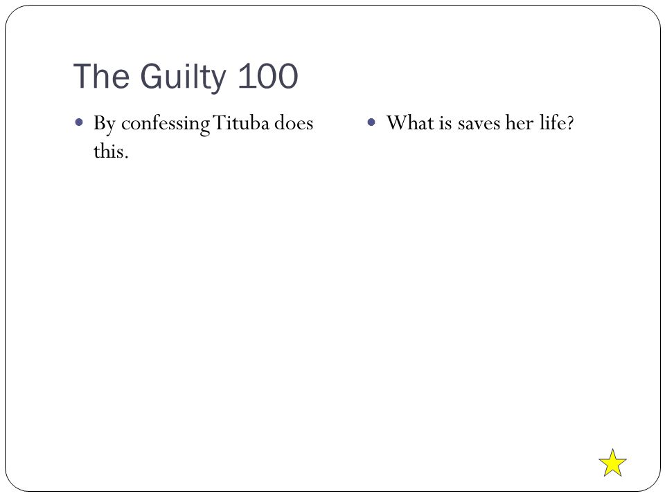 The Guilty 100 By confessing Tituba does this. What is saves her life