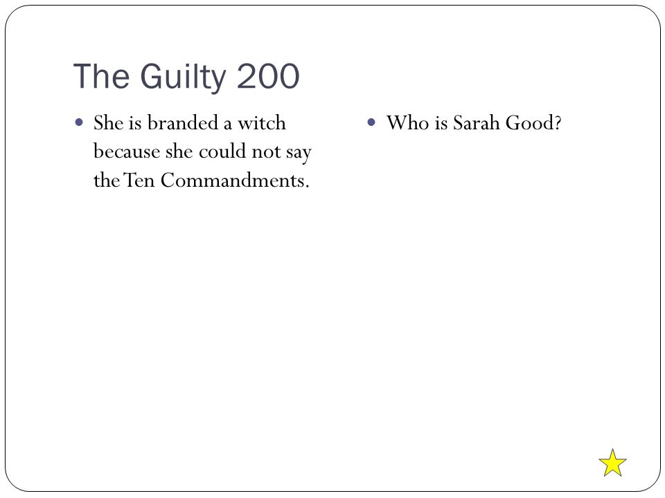The Guilty 200 She is branded a witch because she could not say the Ten Commandments.